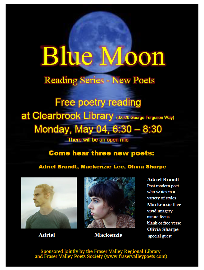 Blue Moon Reading Poster - May 4, 2015