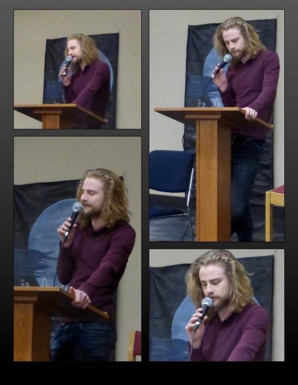 Adriel Brandt reading poetry